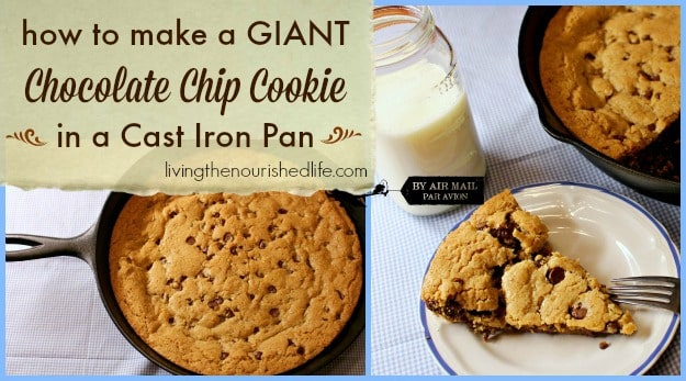 Giant Chocolate Chip Cookie In A Cast Iron Pan The