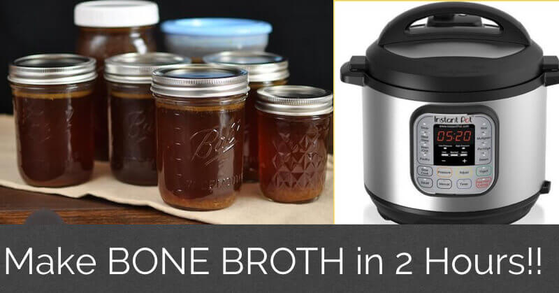 Healthy Instant Pot Recipes: bone broth in mason jars and an instant pot