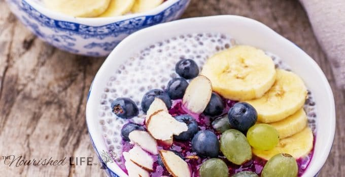 Breakfast smoothie bowl with fruits and granola. Selective focus